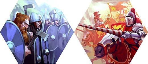 Los sajones y los caballeros, tropas del juego Hexcalibur