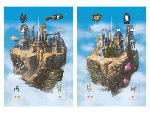 Islas flotantes del juego de mesa Noria