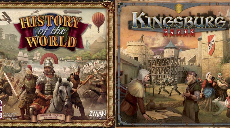 Portadas de la segunda edición de History of the world y Kingsburg de Z-Man Games