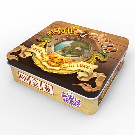 Caja de lata de piratas al agua