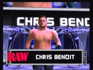 Begrudgingly, the entrances do look very nice, as Chris Benoit enters the fold.