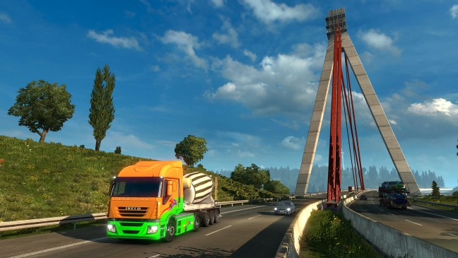 A truck careens through the scenery of Europe.