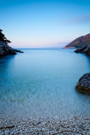 Kefalonia, sunset in a small cove. Long exposure.
