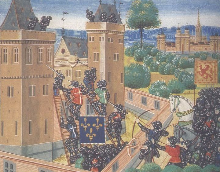 A Franco-Scottish force led by Jean de Vienne attacks Wark Castle in 1385, from an edition of Froissart's Chronicles. This image (or other media file) is in the public domain because its copyright has expired.