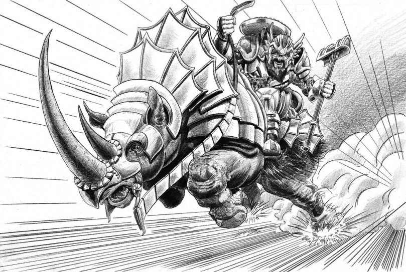 """Duerval Approaches,"" a depiction of Andrew Schwartz's character Duerval atop his war rhino.  Used with permission by artist Joseph Garcia."