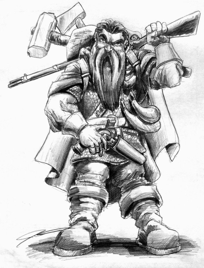 "A ""Lunchtime Sketch"" of Jesper Andersen's Pathfinder Dwarven hunter, ""Grimmnirr Wyrmcrest."" Used with permission by artist Joseph Garcia."