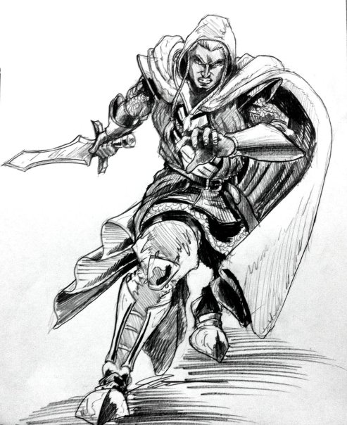 "A ""Lunchtime Sketch"" of Darren Dare's D&D priest/warrior ""Sir Din Nilmornie."" Used with permission by artist Joseph Garcia."