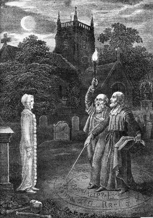 """John Dee and Edward Kelley using a magic circle ritual to invoke a spirit in a church grave yard."" From Ebenezer Sibley - The Astrologer of the Nineteenth Century - Public Domain"