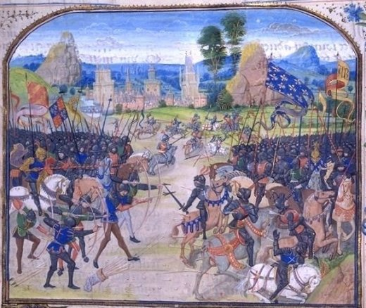 Battle of Poitiers, 1356 (miniature from The Chronicles of Froissart) This work is in the public domain in its country of origin and other countries and areas where the copyright term is the author's life plus 70 years or less.