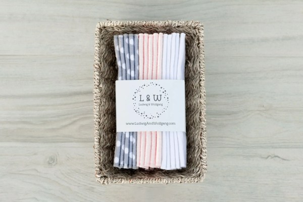 Basket of Wipes (5 ea. 2-Ply, Gray Polka Dot, Pink & White Flannel) 1