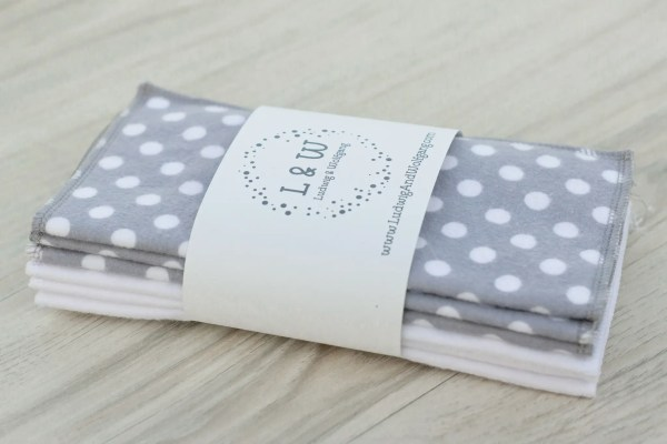 Bundle of Wipes (3 ea. White, Gray Polka Dot, 2-Ply Flannel) 3