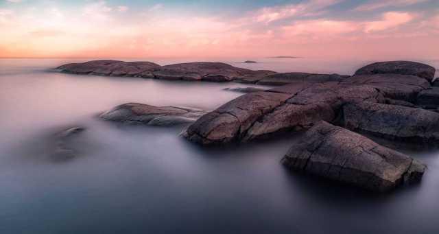 Långa slutartider - Havslandskap vid Östra Håla i Karlshamn