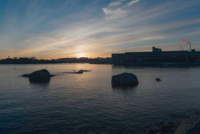 Solnedgång i Januari över Karlshamn - Ludwig Sörmlind