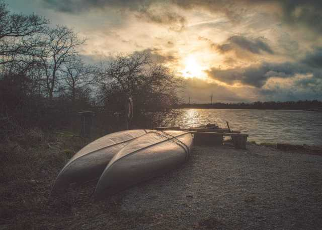Kofsa i solnedgången med Foto Karlshamn - Ludwig Sörmlind