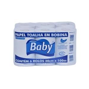 Papel Toalha Bobina 20cm x 100m Luxo – Baby – Fardo 6 rolos