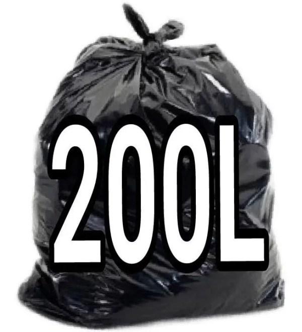 Saco de Lixo Preto 200 Litros - 100 Unidades - Lueri Clean