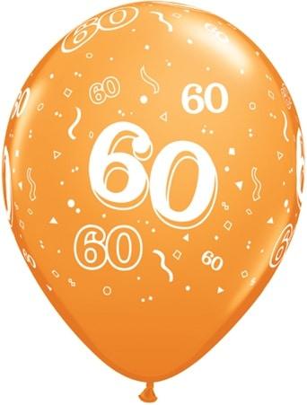 Helium Luftballon Zahl 60 zum 60 Geburtstag 28 cm