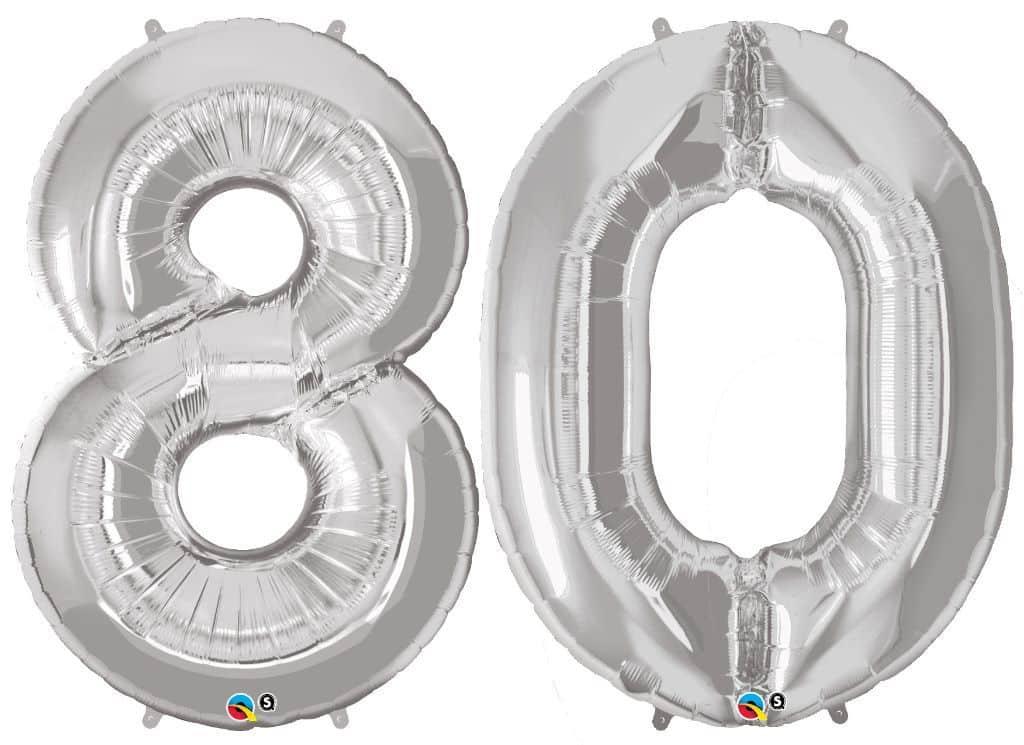Zahlenballon 80 Riesen Luftballon Zahl mit Helium