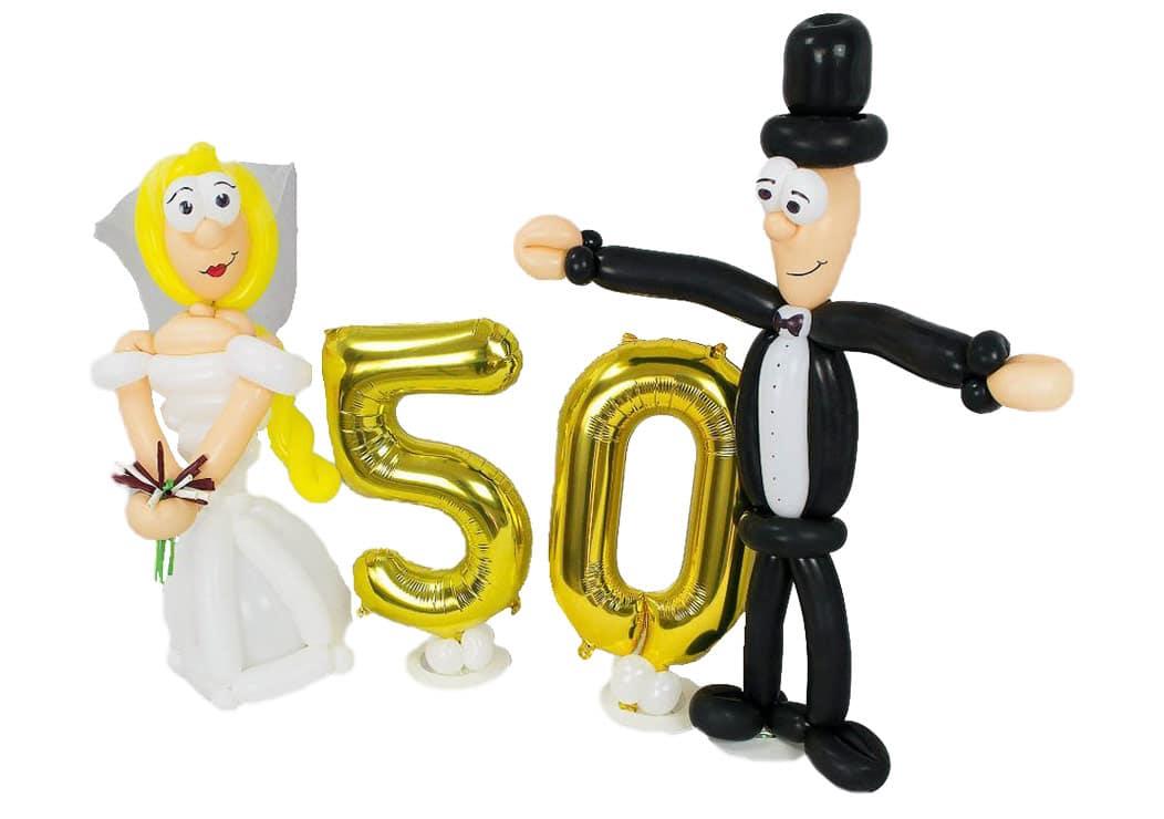 Brautpaar zur Goldenen Hochzeit aus Luftballons 60 cm