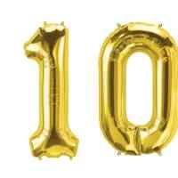 Luftballon Zahl 10 gold XXL gratis Versand mit Helium