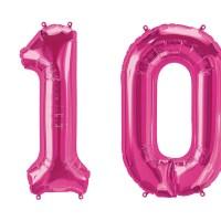 Luftballon Zahl 10 pink XXL gratis Versand mit Helium