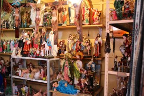 Catholic figurines at a market booth