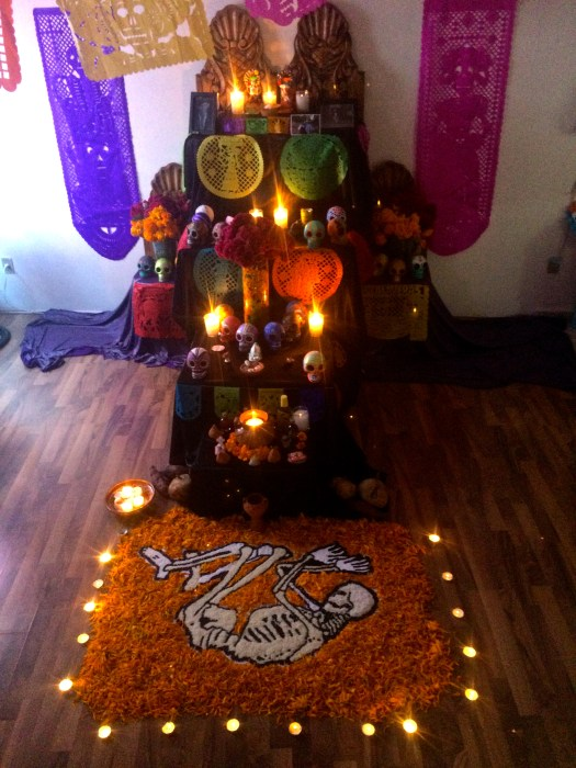 Ofrendas, altars built as offerings to the dead, are a central tradition of Day of the Dead.