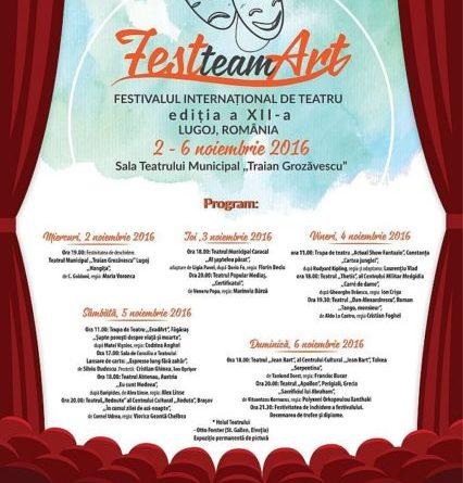 """Lugoj Expres Festivalului Internațional de Teatru """"FestteamArt"""", la cea de-a XII-a ediție Traian Grozăvescu"""" Lugoj Teatrul Municipal Festivalului Internațional de Teatru """"FestteamArt"""" Casa de Cultură a Municipiului Lugoj"""