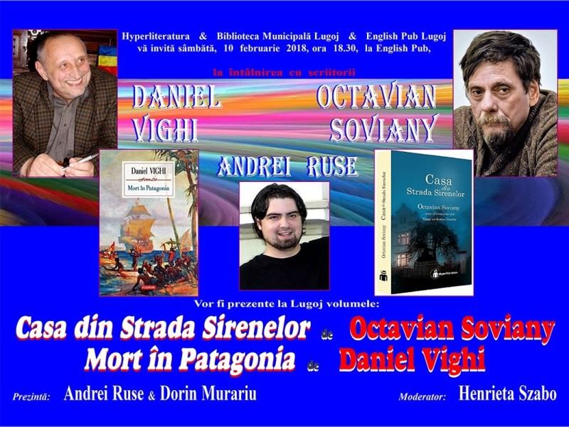 Lugoj Expres Dublă lansare de carte, la English Pub Lugoj Octavian Soviany lansare Eveniment literar English Pub Lugoj Daniel Vighi carte