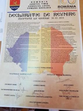 """Lugoj Expres Premieră la Găvojdia! Consiliul Local a adoptat, la inițiativa unui cetățean al comunei, """"Declarația de Reunire"""" cu Republica Moldova Republica Moldova Ramona Dzitac proiect de hotărâre premiera inițiativă Găvojdia declarație de reunire Dănuț Toma Stoica Consiliul Local cetățean"""