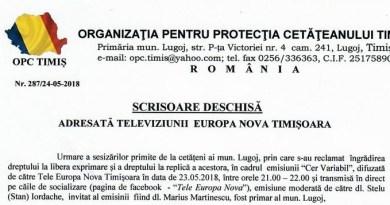 Lugoj Expres O.P.C. Timiș - Scrisoare deschisă scrisoare deschisă OPC Timiș