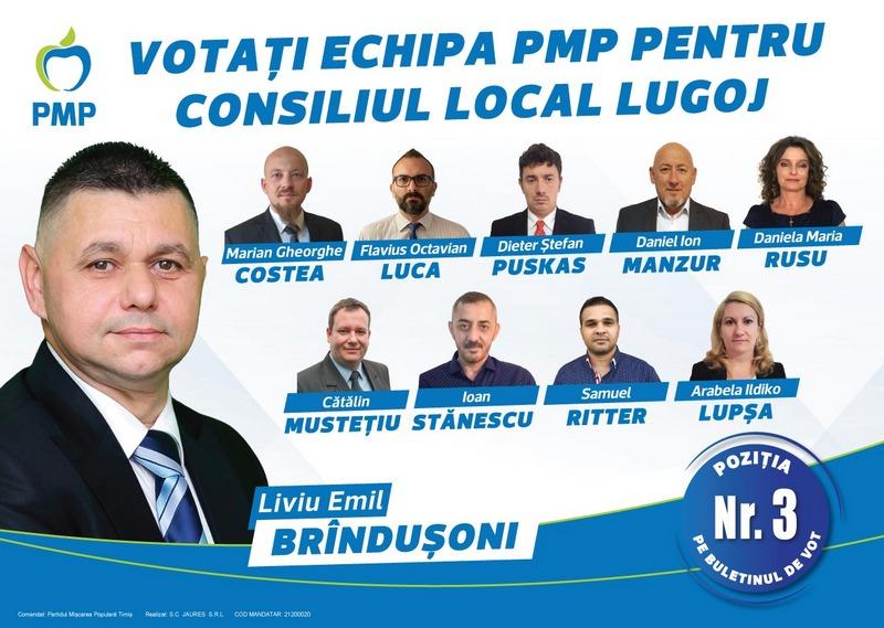 Lugoj Expres Lugojul are nevoie de oameni dedicați! Cele mai mărunte fapte, valorează mai mult decât cele mai măreţe intenţii! (P) primar PMP Lugoj PMP Lugoj Liviu Brîndușoni Consiliul Local Lugoj candidat