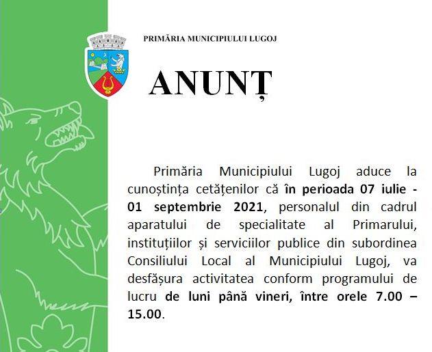 Lugoj Expres Program modificat la Primăria Lugoj și la instituțiile și serviciile publice subordonate Consiliului Local servicii publice program de lucru Primăria Municipiului Lugoj Lugoj instituții Consiliul Local Lugoj activitate