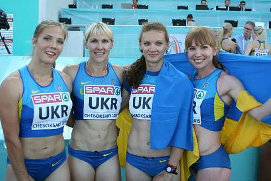 Українська естафетна команда 4 х 100 м. Строгова Наталія крайня зліва