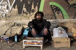 Ponte Mazzini. Jacob is Polish and is 30 old. he used to work in a restaurant in the center, but it closed, becouse of the crisis and he found himself on the street. He has lived under a bridge for about 6 months.