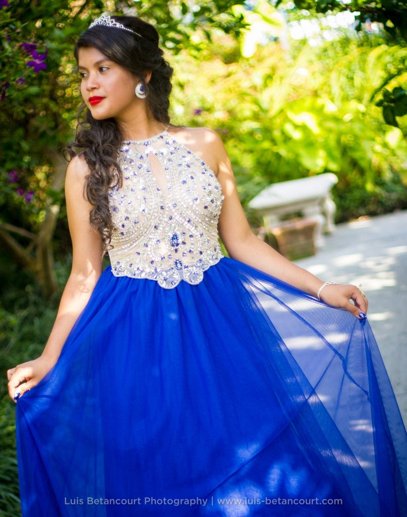 Quinceanera Photography in Lakeland, Tiara. Blue Dress
