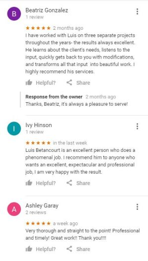 google reviews list from a local photographer