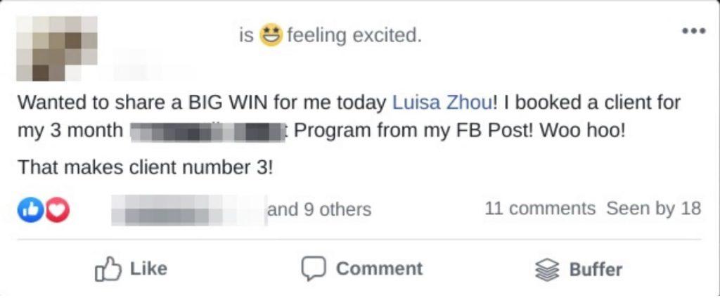 social media for coaches testimonial