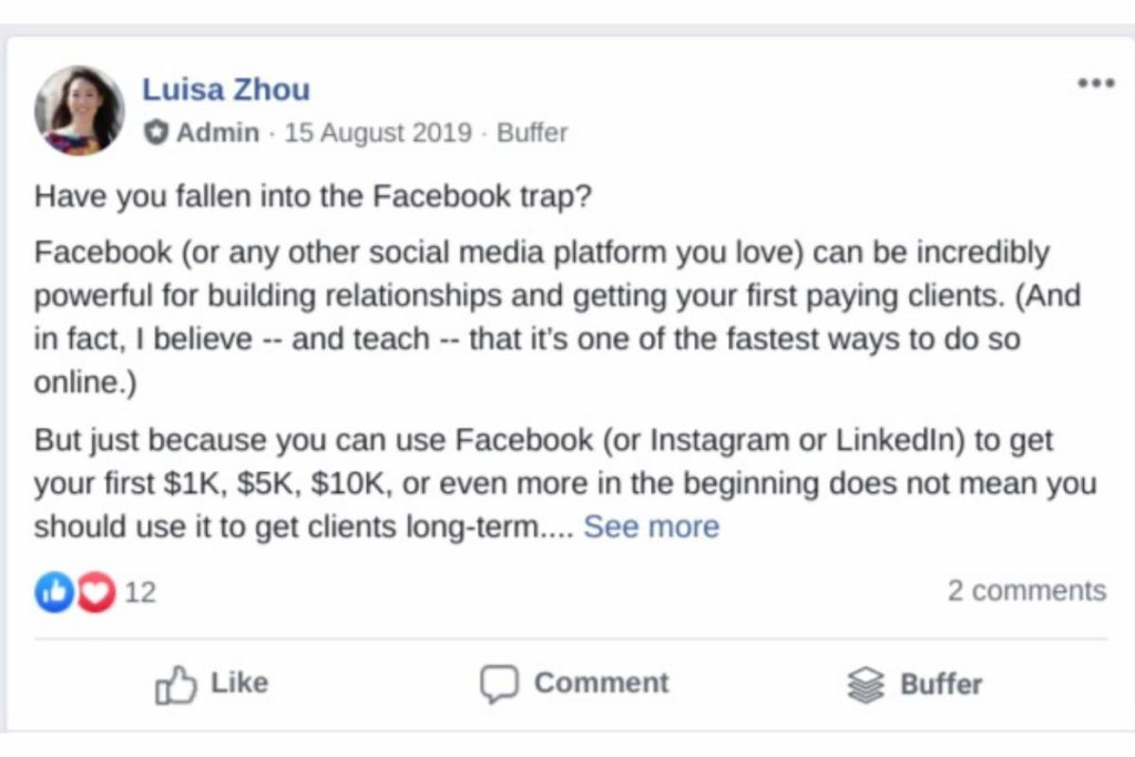 Facebook post example LuisaZhou