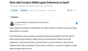 How did Gordon Miller Gain followers