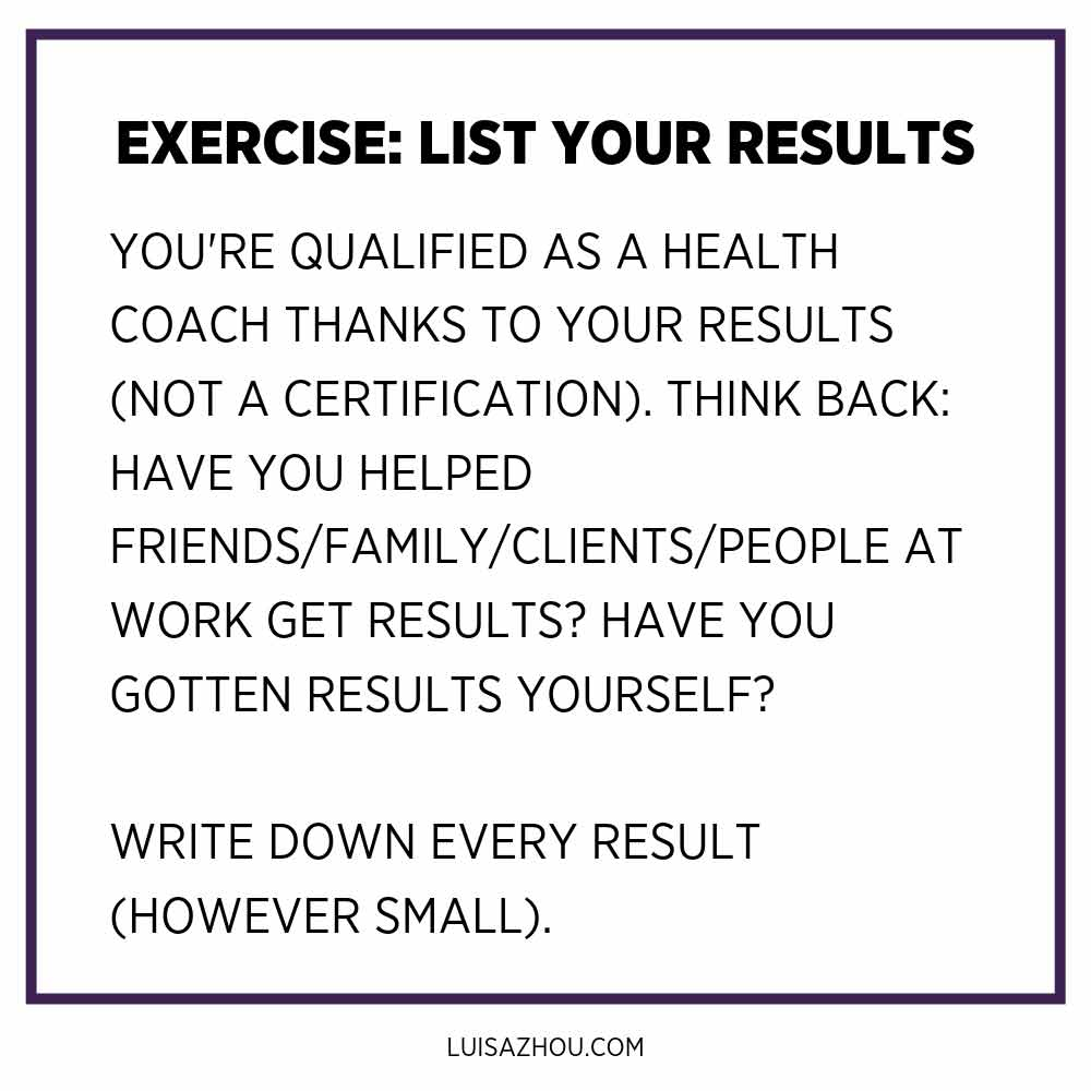 exercise list your results