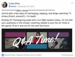 Q&A facebook post