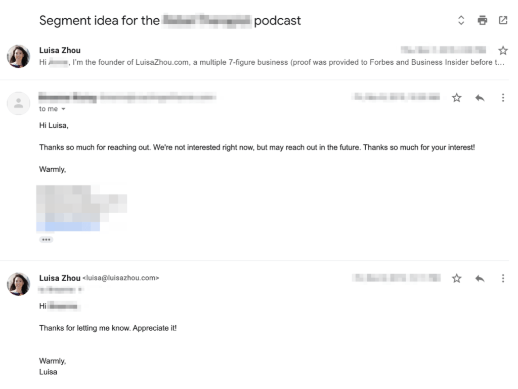 Podcast pitch rejection