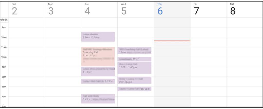 Business calendar for setting goals