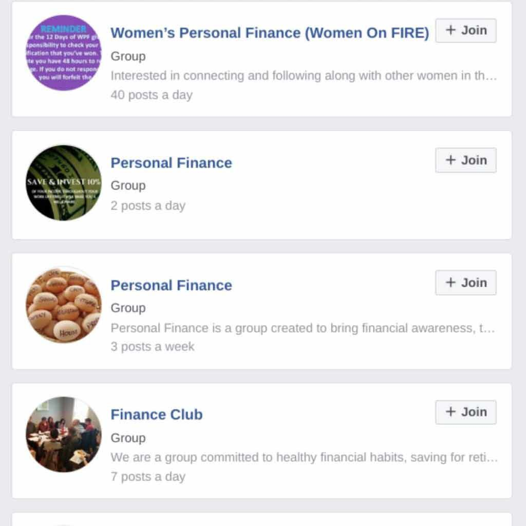Facebook group overview