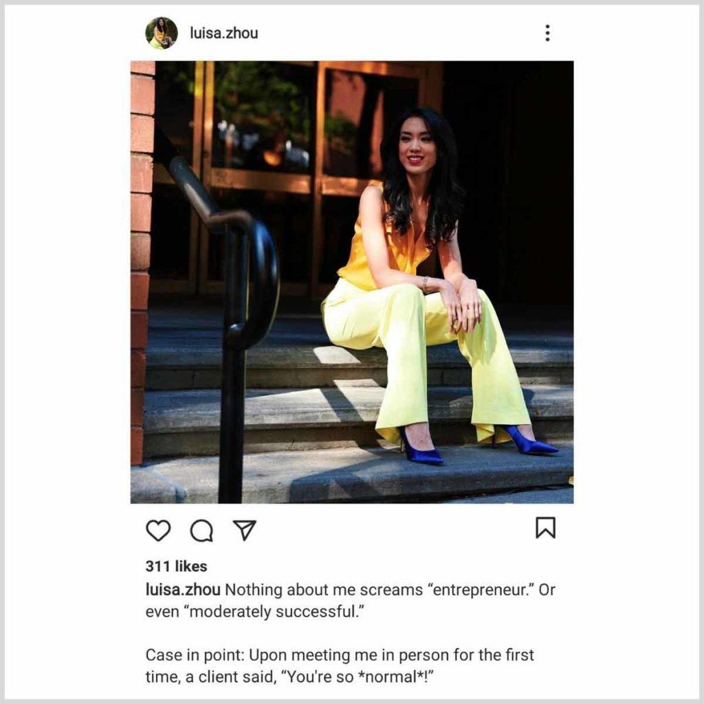 Luisa Zhou Instagram post example