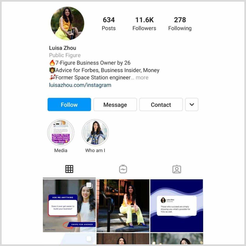 Luisa Zhou Instagram profile
