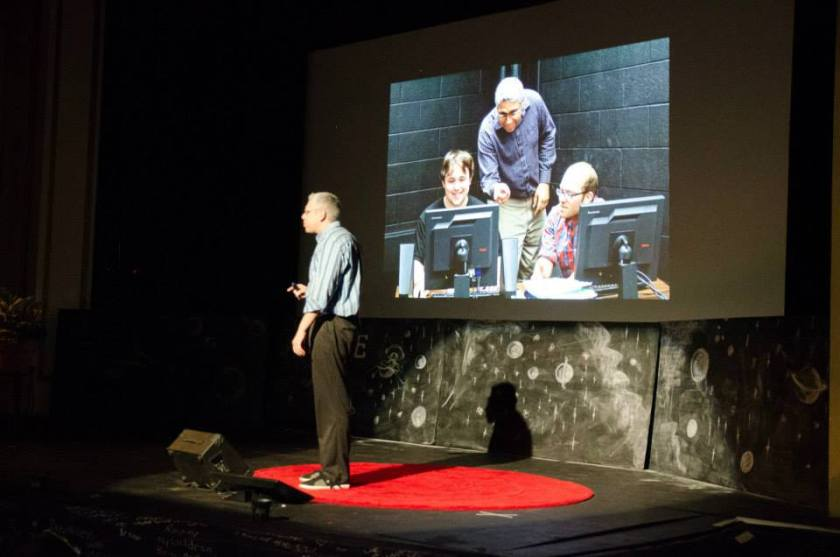 Photo of Dr. A Delivering His TEDx Speech About Techno Moderation.
