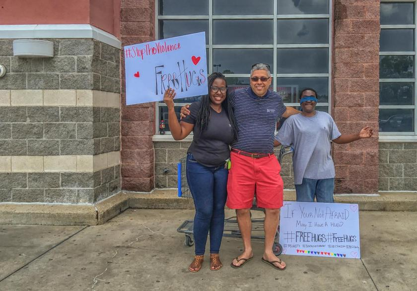 Photo of Dr. A supporting #FreeHugs, a campaign to stop violence in Madison, MS.