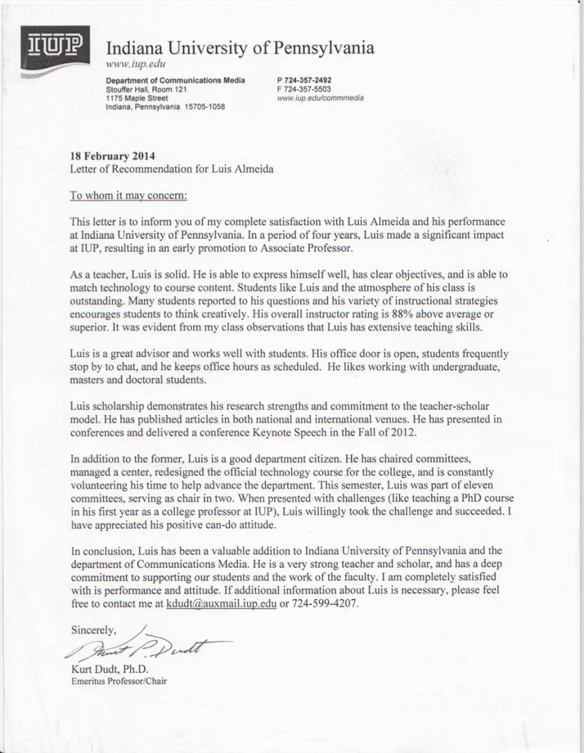 Photo of Letter Of Reference From Dr. Kurt Dudt, Longtime Chair At IUP